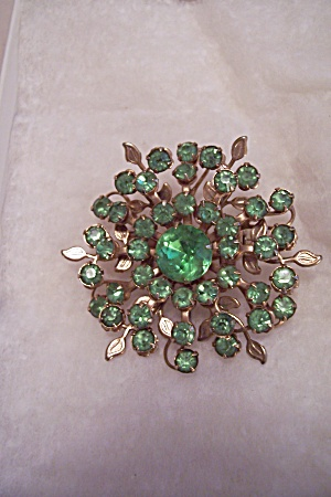 Vintage Green Rhinestone Brooch (Image1)