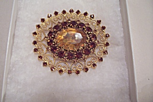 Vintage Light & Dark Amber Rhinstone Brooch (Image1)
