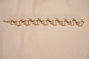 Lisner Goldtone Simulated Pearl & Rhinestone Bracelet (Image1)