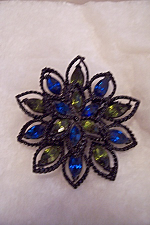 Vintage Cobalt Blue & Light Green Rhinestone Brooch (Image1)