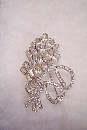 Vintage Brilliant Rhinestone Bow & Floral Spray Brooch (Image1)