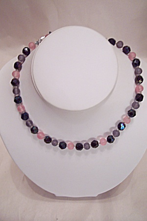Vintage Black, Pink & Gray Glass Bead Necklace Set (Image1)