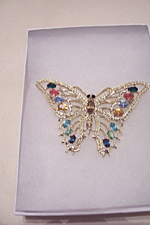 Rhinestone And Goldtone Butterfly Brooch (Image1)