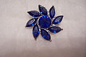 Vintage Cobalt Blue Rhinestone Brooch (Image1)