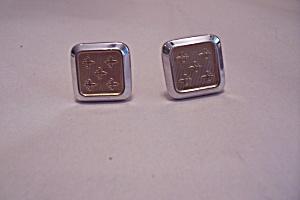 Silvertone & Goldtone Fleur De Lis Cuff Links (Image1)