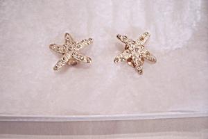 Goldtone, Enamel & Rhinestone Starfish Earrings (Image1)