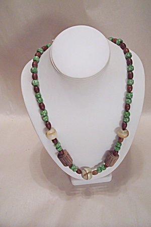 Glass, Onyx, And Wooden Bead Necklace (Image1)