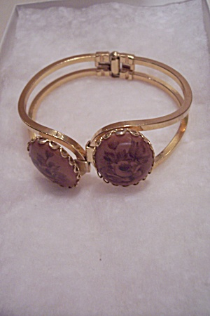 Goldtone & Flower Cameo Hinged Bracelet (Image1)
