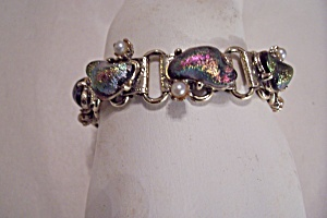 Peacock Stones & Pearls Bracelet & Clip-On Earrings Set (Image1)