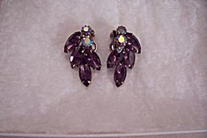 Aurora Borealis & Amethyst Rhinestone Clip-On Earrings (Image1)