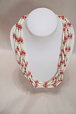 Red, White And Goldtone Bead Six Strand Necklace (Image1)