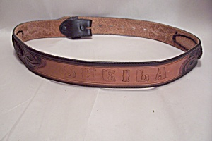 Womens Leather Western Belt With Name Sheila On It (Image1)