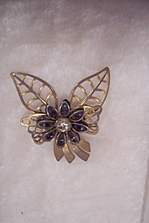 Goldtone Floral Motif Rhinestone & Enamel Brooch (Image1)