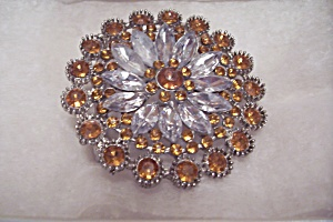 Women's Amber & Clear Rhinestone Belt Buckle (Image1)