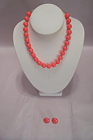 Trifari Orange Bead Necklace & Earrings Set (Image1)