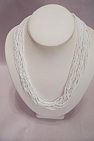 Tiny White Glass Beads 12 Strand Necklace (Image1)