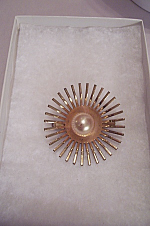 Gold Tone Sunburst Metal Brooch With Faux Pearl