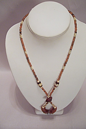 Amber Bead Necklace With Amber Disk Drop