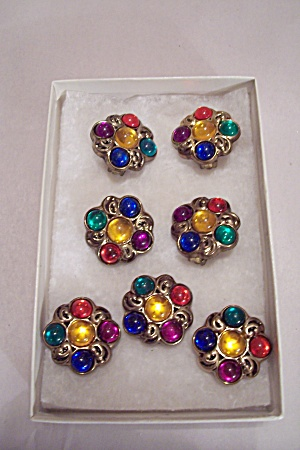Multi-colored Earrings And Matching Button Covers