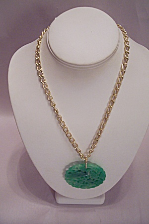 Gold Tone Chain Necklace With Jade Green Plastic Drop