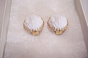 Napier Raised White Flower Earrings (Image1)