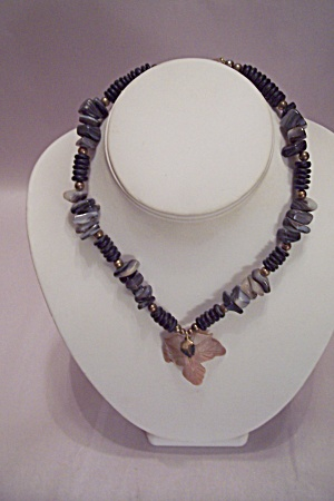 Agate Nuggets & Beads Necklace With Drop