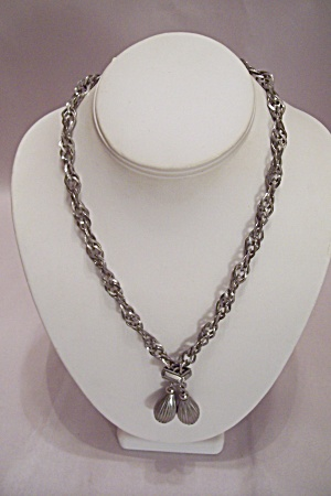 Silver Tone Double Chain Necklace With A Pair Of Drops