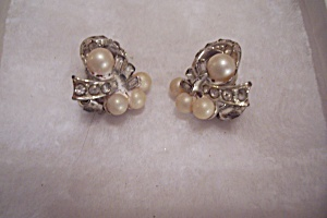 Pearl And Rhinestone Clip-on Earrings