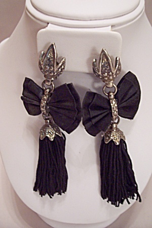 Silver & Cloth Bow & Drop Clip-On Earrings (Image1)