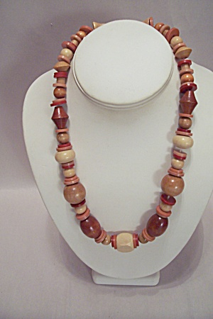 Wooden Multi-colored Disks, Beads & Spheres Necklace