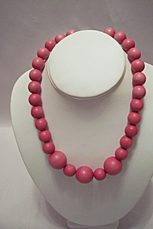 Pink Wooden Bead Necklace (Image1)