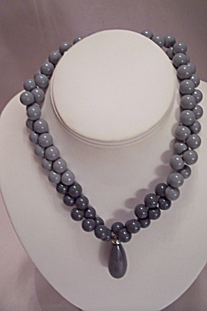Two Tone Gray Bead Necklace With Teardrop Shaped Drop