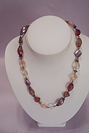 Amber & Clear Faceted Beads Necklace