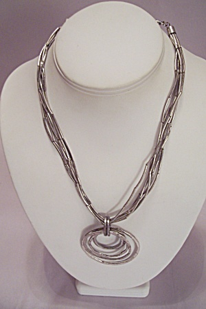 Silver Tone Elongated Beads & Metal Rings Necklace
