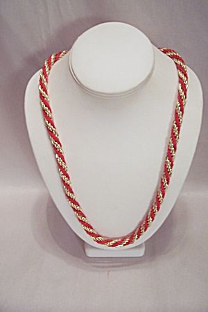 Gold Tone & Red Cord Braided Necklace (Image1)