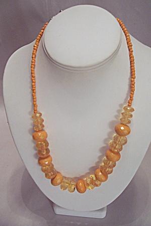 Orange & Light Amber Bead Necklace (Image1)
