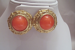 Pair Of Gold Tone & Orange Stone Clip-on Earrings