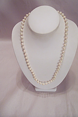Opalescent White Bead Necklace