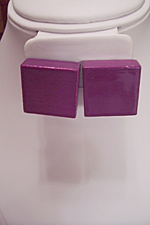 Pair Of Purple Square Wooden Clip-on Earrings