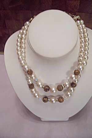 Pearl & Gold Tone Filigree Round Beads 2-strandnecklace