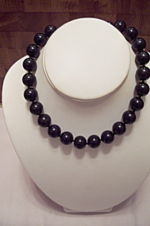 Black Glass Round Bead Necklace
