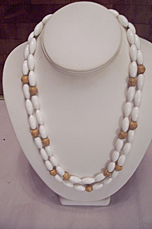 Two Strand Oval White Bead Necklace