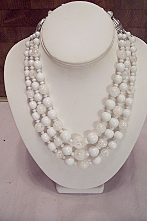 Three Strand White Bead & Crackle Glass Bead Necklace