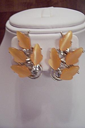 Pair Of BSK Rhodium & Orange Leaf Clip-On Earrings (Image1)