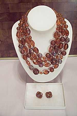 Four Strand Amber Faceted Bead Necklace & Earrings Set