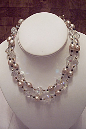 Crystal Glass Faceted Bead & Pearl 2-strand Necklace