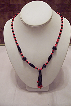 Red & Black Bead Necklace With Drop