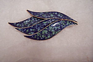 Enamel & Gold Tone Leaf Broach/pin/necklace Drop