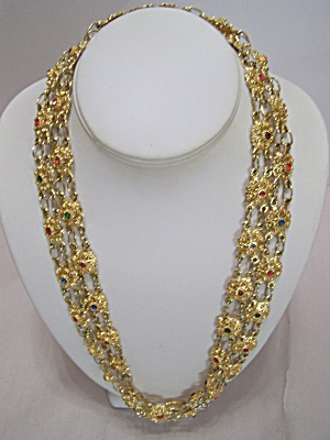 Gold Plated & Multi-colored Rhinestone Link Necklace