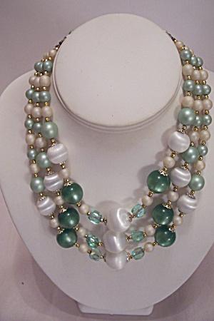 Three Strand Multi-Colored & Multi-Shaped Bead Necklace (Image1)